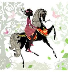 Khokhloma horse girl background vector