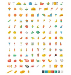 Food and beverages flat icons vector