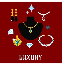 Luxury concept displaying expensive jewelry vector