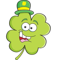 Cartoon shamrock wearing a derby hat vector