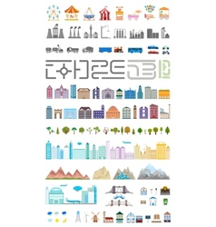 Elements of the modern big city or village vector