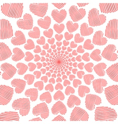 Design doodle red heart spiral movement background vector