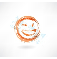 Wink and laugh grunge icon vector