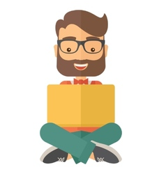 Businessman reading a book vector