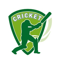 Cricket batsman shield vector