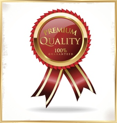 Premium quality red and gold label vector