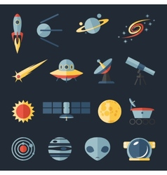 Space flat icons set vector