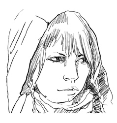 Woman in hood pencil drawing vector