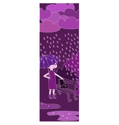 Cartoon girl walking in the rain in purple colors vector