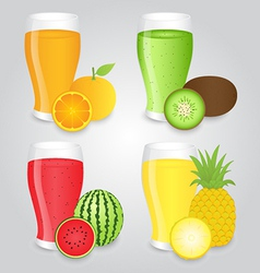 Glasses of fruits juice isolated on background vector