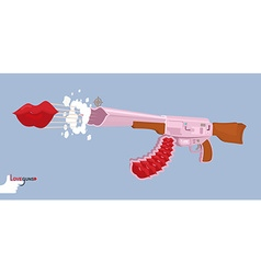 Love gun kiss valentines day cupids rifle vector