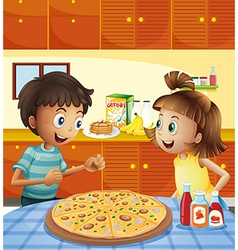 Kids at the kitchen with a whole pizza at the vector