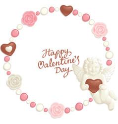 Valentine candy frame vector