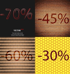 45 60 30 icon set of percent discount on abstract vector
