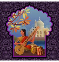 Indian girl playing on sitar near taj mahal vector