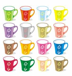 Colored mugs vector