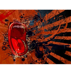 Screaming mouth with grunge background vector