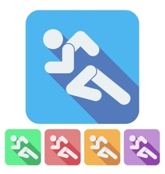 Set of flat icon with running people simple symbol vector