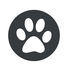 Monochrome round paw icon vector