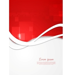 Bright red wavy technology design vector