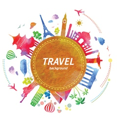 Travel background with watercolor effect vector