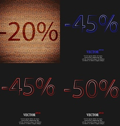 45 50 icon set of percent discount on abstract vector