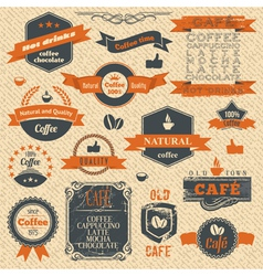Vintage coffee stamps and label design backgrounds vector
