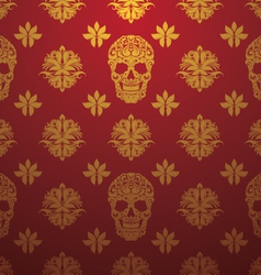 Gold skull ornamental pattern vector