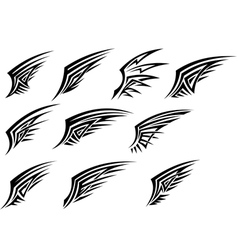Set of black tribal wing tattoos vector