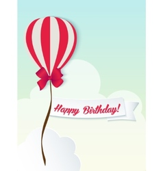Happy birthday ballons greeting card red paper vector