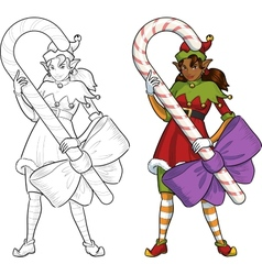 Christmas elf african american girl with candy vector
