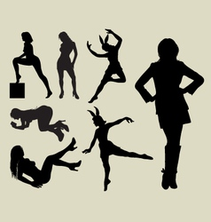 Sexy girl silhouettes vector