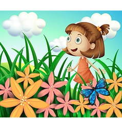 A girl at the garden with butterfly and flowers vector