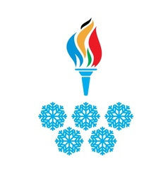 Olympic symbols torch and rings vtctor vector