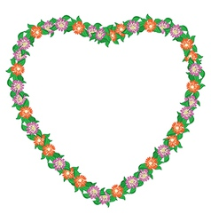 Floral heart with flowers - frame vector