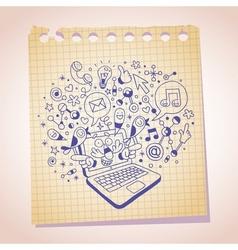 Laptop concept note paper cartoon sketch vector