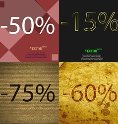 15 75 60 icon set of percent discount on abstract vector