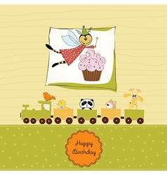 Childish birthday card with funny dressed bee vector