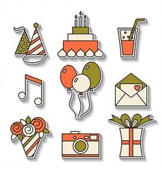 Holiday flat icons happy birthday set vector