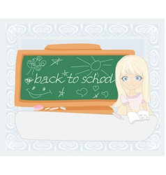 Cute girl at the table - back to school vector