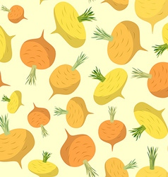 Turnip seamless pattern vegetable background ripe vector