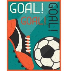 Goal retro poster in flat design style vector