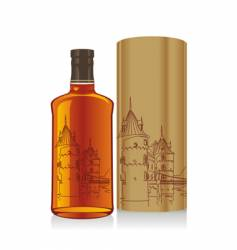 Whiskey bottle and box vector
