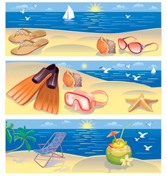 Beach vacation banners vector