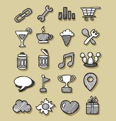 Icons hand drawn 3 vector