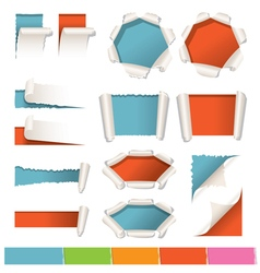 Various kind of torn paper background vector