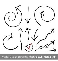 Set of hand drawn scribble arrows vector