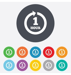 Every hour sign icon full rotation arrow vector