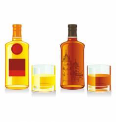 Whiskey bottles and glasses vector