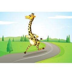 A giraffe running along the road vector